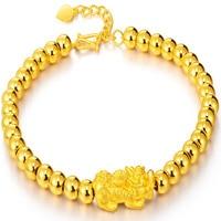 Чистый 24 К желтого золота браслет 999 золотой дракон сыну 4 мм Гладкие бусины браслет