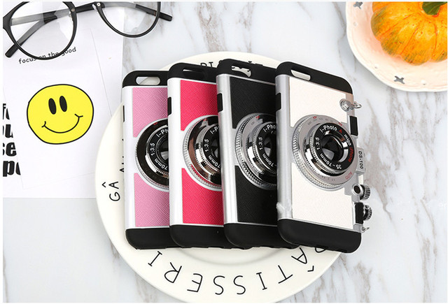 iPhone 3D Camera Cases Mobile Phone Back Cover Capa Silicone Plastic Soft Shell For iPhone 6 6s Plus 8 8 plus 295C