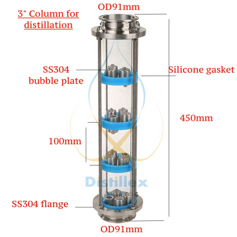 NEW 3 SS304 bubble plates Distillation Column with 4 section for distillation .Glass column 8 tri clamp od 217 glass column for distillation