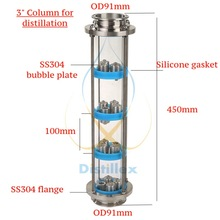 NEW 3 SS304  bubble plates Distillation Column with 4 section for distillation .Glass column