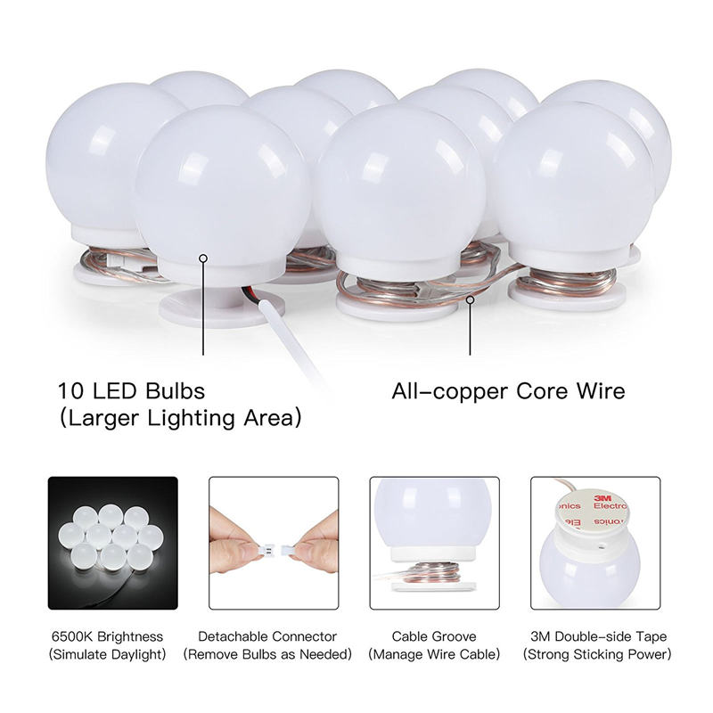 WRUMAVA Makeup Mirror Vanity LED Light Bulbs Kit USB Charging Port DIY Adjustable Brightness Comestic Lamp for Dressing Table