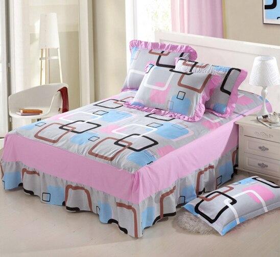 gray lattice cotton bed skirt bedspread twin full queen size bedroom bed linings mattress. Black Bedroom Furniture Sets. Home Design Ideas