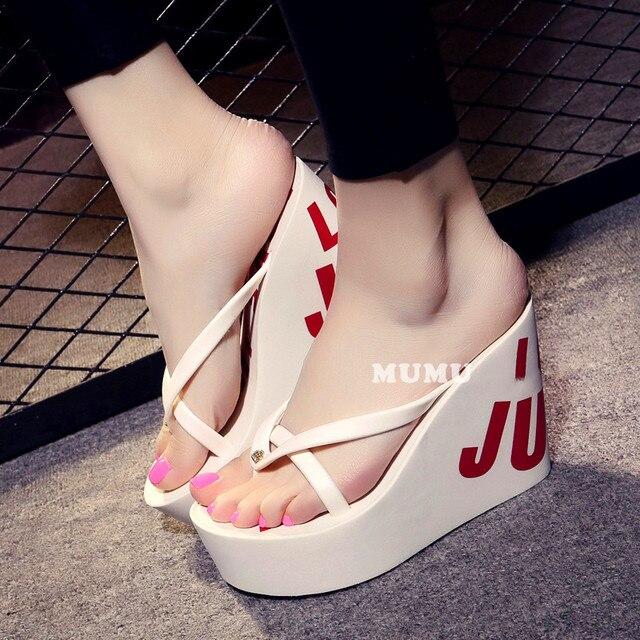 Estate belle signore super high-tacco alto piattaforma flip-flops11cm scarpe da spiaggia pantofole pantofole di nozze scarpe da donna di lusso