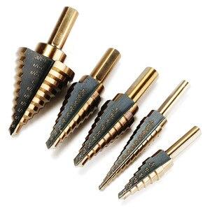 Image 3 - 5 pc HSS קובלט מקדח שלב סט טיטניום קונוס תרגיל חור חותך קצת מרובה חור 50 גדלים צעד תרגיל קצת כוח כלי מקדח