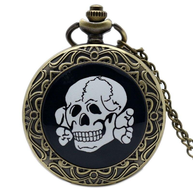 Забавные карманные часы в ретро стиле с бронзовыми костями и цепочкой, подарок для мужчин и женщин pocket watch pocket watches for salefob pocket watches   АлиЭкспресс