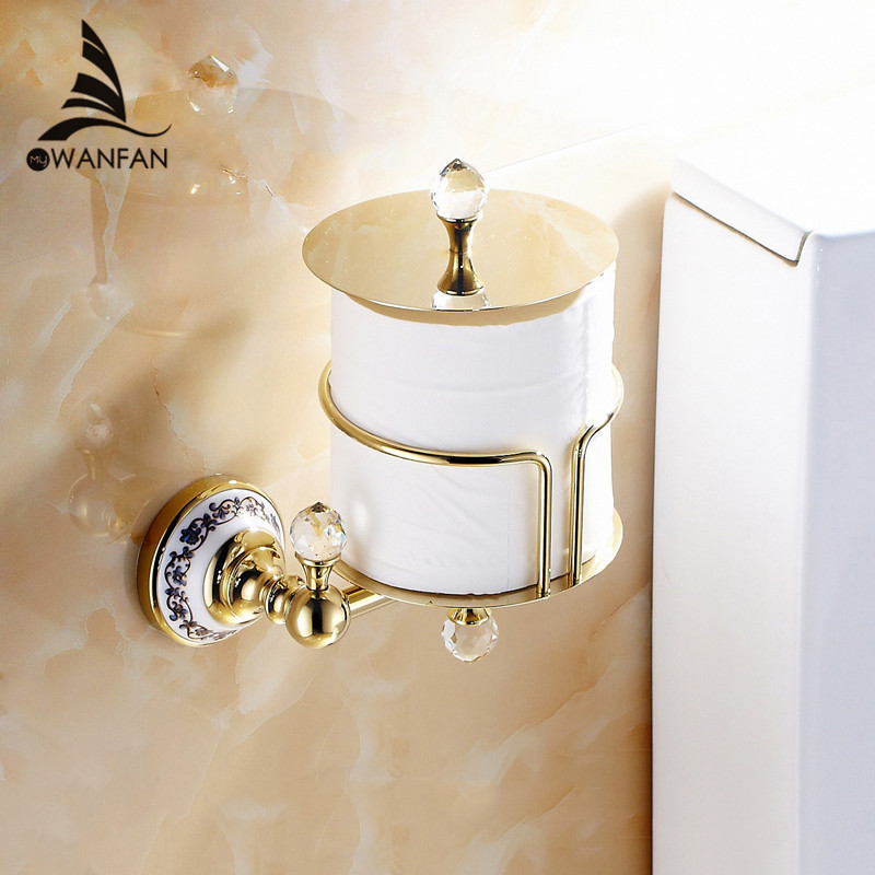 Paper Holders Euro Style Wall Mounted Crystal Brass Paper Box Roll Holder Toilet Gold Paper Holder Bathroom Accessories 6316 gold crystal wall mounted toilet paper holders brass wc roll paper tissue basket bathroom accessories