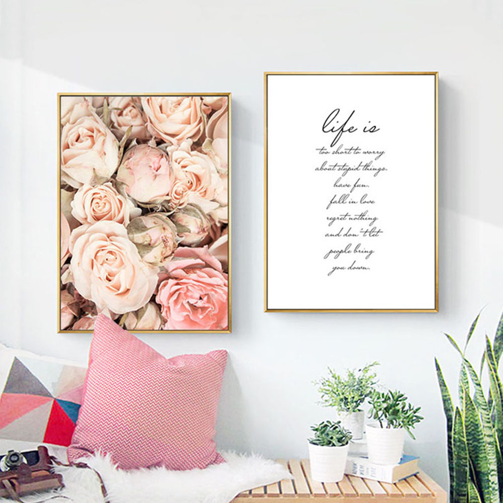 flower canvas painting wall art poster nordic motivational quotes