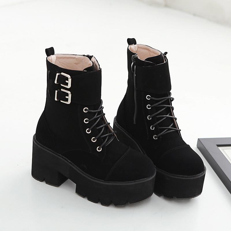 2018 winter new winter boots women thick soled belt buckle women shoes velvet warm high heel platform ankle boots for women