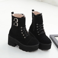 2018 winter new winter boots women thick soled belt buckle women shoes velvet warm high heel platform ankle boots for women