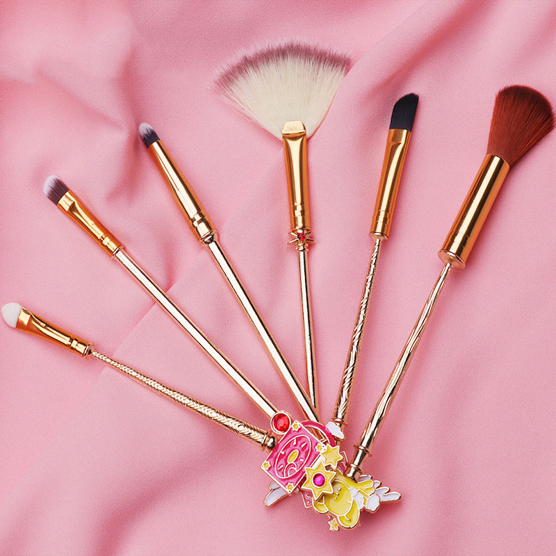 6pcs Magic Girl Sakura Modeling Makeup Brushes Eyeshadow Lip Brush Fiber Bristles Cosmetic Beauty Tool Kits We Take Customers As Our Gods Eye Shadow Applicator Beauty & Health