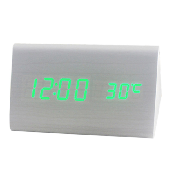 Voice Control Calendar Thermometere Wood Wooden LED Digital Alarm Clock USB/AAA White Wood Green LED