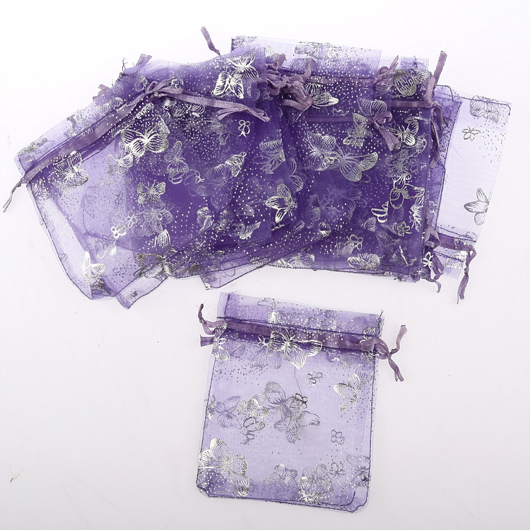 100pcs Nice Butterfly Organza Pouch Wedding Birthday Party Jewelry Gift Bag 7*9cm Violet