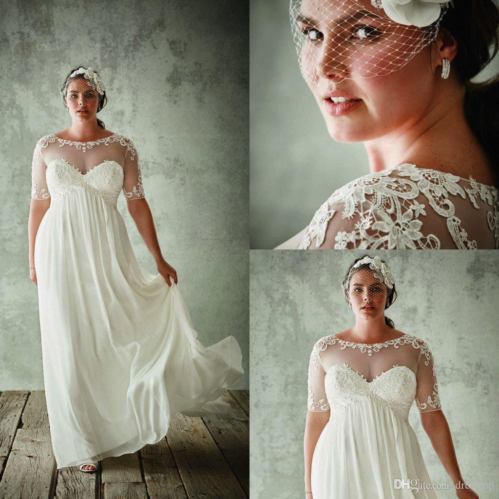 Fashion Plus Size With Half Sleeves Sheer Jewel Neck A Line Lace Appliqued Bridal Gowns Chiffon Empire Waist   Evening     Dress