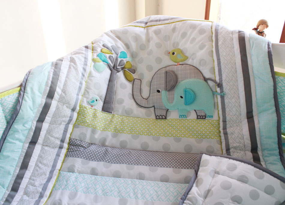 Elephants 4pc Baby Nursery Crib Bedding Set Boy Cot Lique Quilt Pers Ed Sheet Dust Ruffle Bed Linen Kit Bebe In Sets From Mother