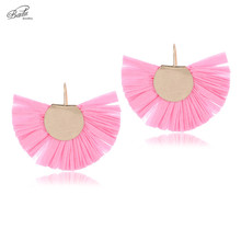 Badu 2018 New Pink Earring for Girls Lovely Raffia Tassels Light Weight Fashion Jewelry Plastic Cord Gold Copper Gift