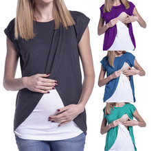 Women Pregnant's Maternity Clothes 2019 Wrap Top Sleeves Double Layer Pregnancy Shirt Breastfeeding Clothes Enfermeria Hamile