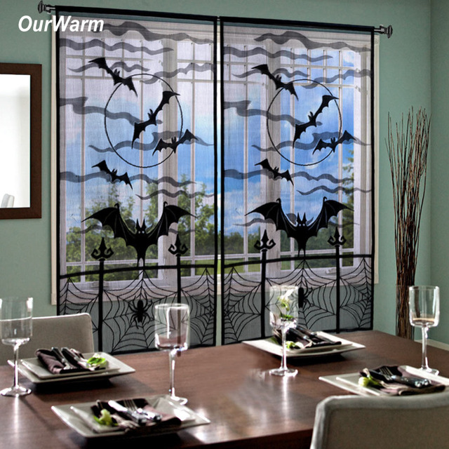 Bat Living Room Wall Color Ideas With Brown Furniture Ourwarm 2pcs Halloween Curtains Spider Black Lace Window Curtain For Decorations Party Supplies