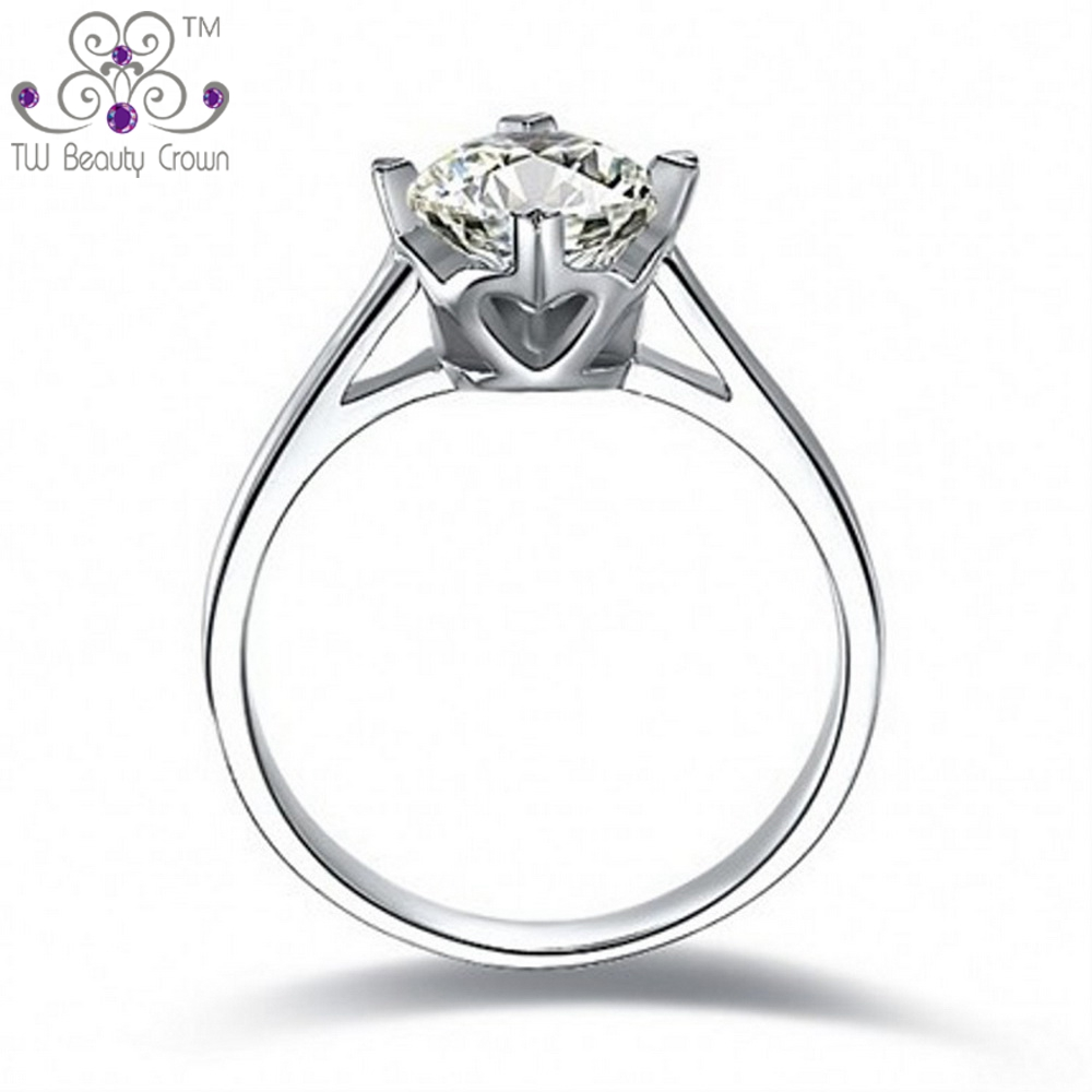 2 Carats Real 925 Sterling Silver Big Crown Round Heart Cz Wedding & Engagement  Rings For