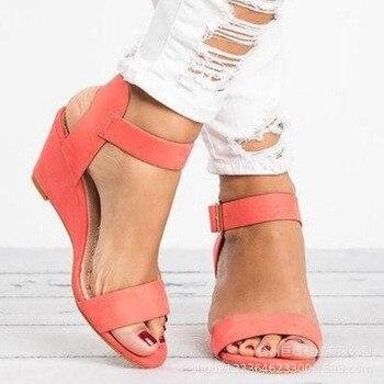 7690c665 Europa verano 2019 nuevas sandalias de mujer cuña tacones altos moda Casual zapatos  mujer plataforma básica hebilla Correa talla grande 34 -43