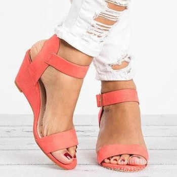 Europe Summer 2019 New Women Sandals Wedge High Heels Fashion Casual Shoes Woman Platform Basic Buckle Strap Plus Size 34-43 - DISCOUNT ITEM  40% OFF All Category