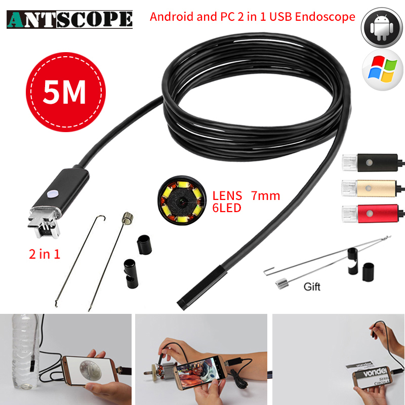 Antscope 7MM 2IN1 USB Endoscope Android Camera 5M Tube Pipe Waterproof Phone PC USB Endoskop Inspection Borescope Mini Camera 30