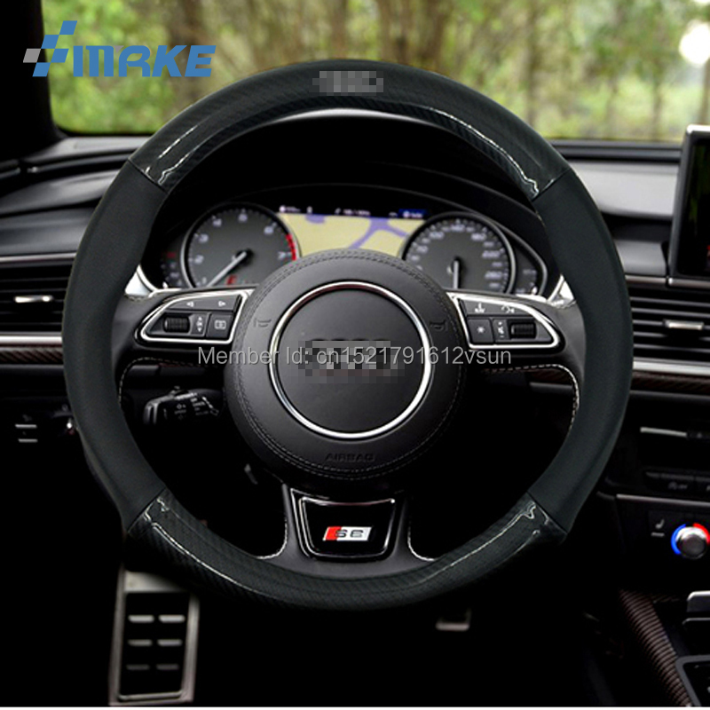 smRKE 38cm 15 Anti-Slip Black Carbon Fiber Top PVC Leather Steering Wheel Cover For Audi A3 Q3 Q5 A5 A6 A7 A8L S6 TTS RS Series цена