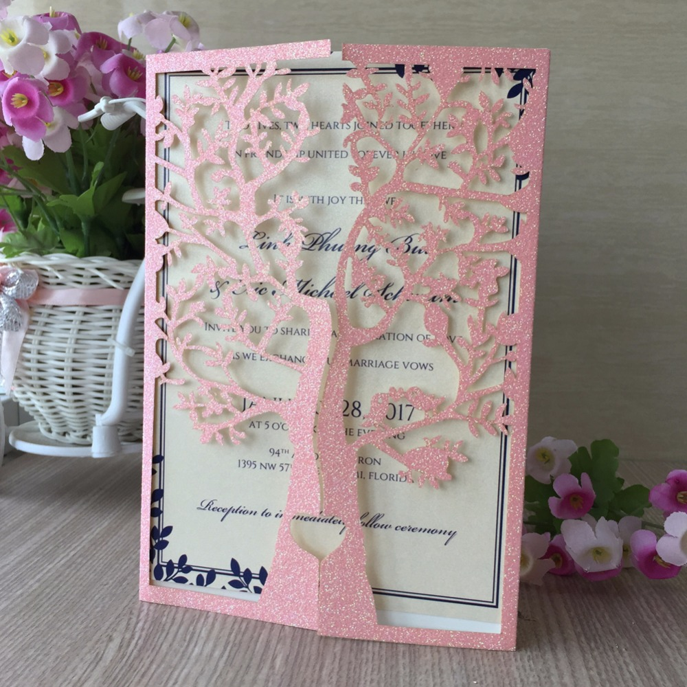 Aliexpress buy 50pcslot glitter paper beautiful flower with aliexpress buy 50pcslot glitter paper beautiful flower with tree birthday paty wedding invitation cards adult ceremony card blessing card from izmirmasajfo