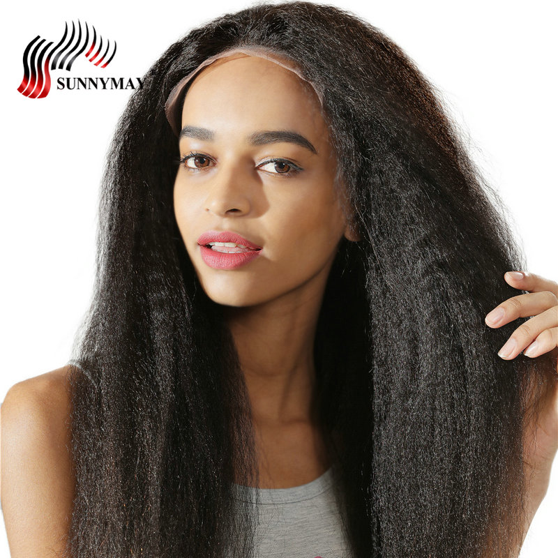 Sunnymay Kinky Straight Glueless Full Lace Human Hair Wigs Malaysian Virgin Hair Pre Plucked With Baby Hair For Women