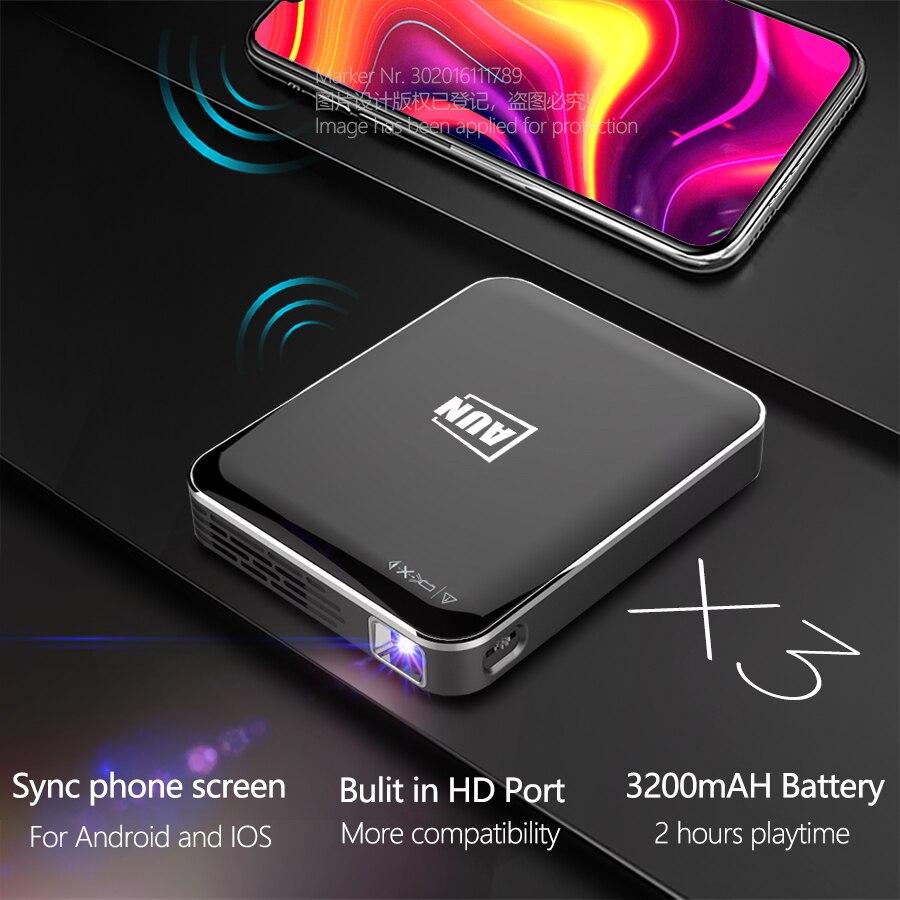 Aun mini projetor dlp x3 com sincronizar a tela do smartphone, espelhamento da tela do telefone de android/ios, portátil para o cinema em casa de 1080p-1