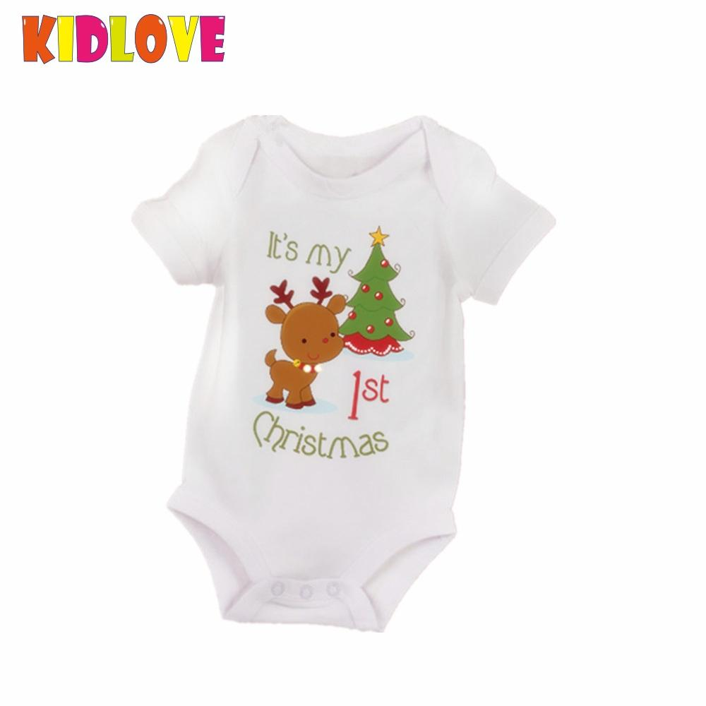 KIDLOVE Christmas Baby Romper Newborn Boys Girl Cartoon Deer My First Christmas Letters Xmas Tree Print Short Sleeve JumpsuitER0 my first christmas newborn baby girl long sleeve cotton romper tops snowman print bowknot skirt headband 3pcs xmas clothes set