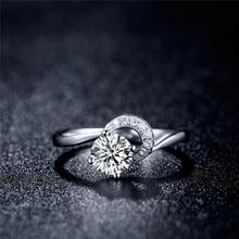 Natural GIA Diamond Engagement Ring for Women 18K White Gold 0.7+0.064ct H/SI1/Ex GIA Diamond 4-claw Wedding Band