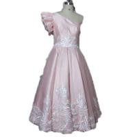 Hot selling one-schouder thee-lengte een lijn applicaties roze prom jurk verjaardag sweet 16 jurk gala dragen