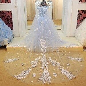 Image 2 - LS64420 Blauwe jurk lange partylong cape sweetheart floor lengte avond party jurken 2016 lange met bloemen 100% real photo
