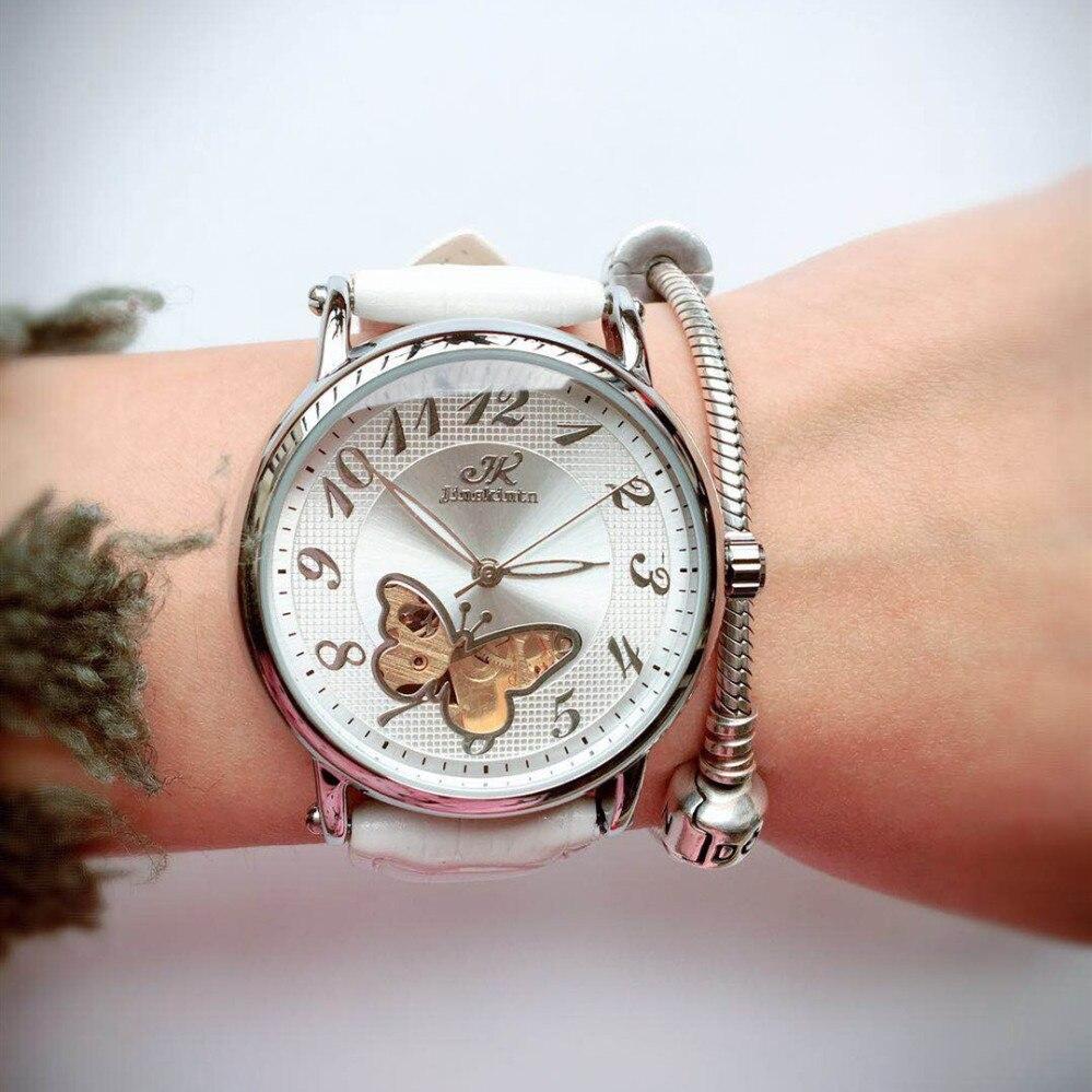 Relógio de Pulso Senhoras Relógio Esqueleto Automático Mulher Feminino Borboleta Mecânico Relógios Snakeskin 30 m 2020