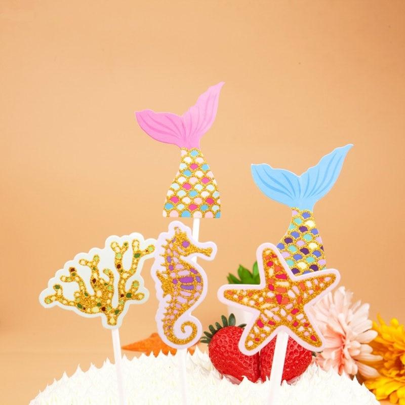Ocean Cake Toppers Flags Cupcake Mermaid Seahorse starfish coral ...