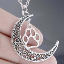 Crescent Moon With Hollow Paw Prints Pendant Necklace Fashion Vintage Antique Silver Charms Jewelry Gift Choker For Women(China)