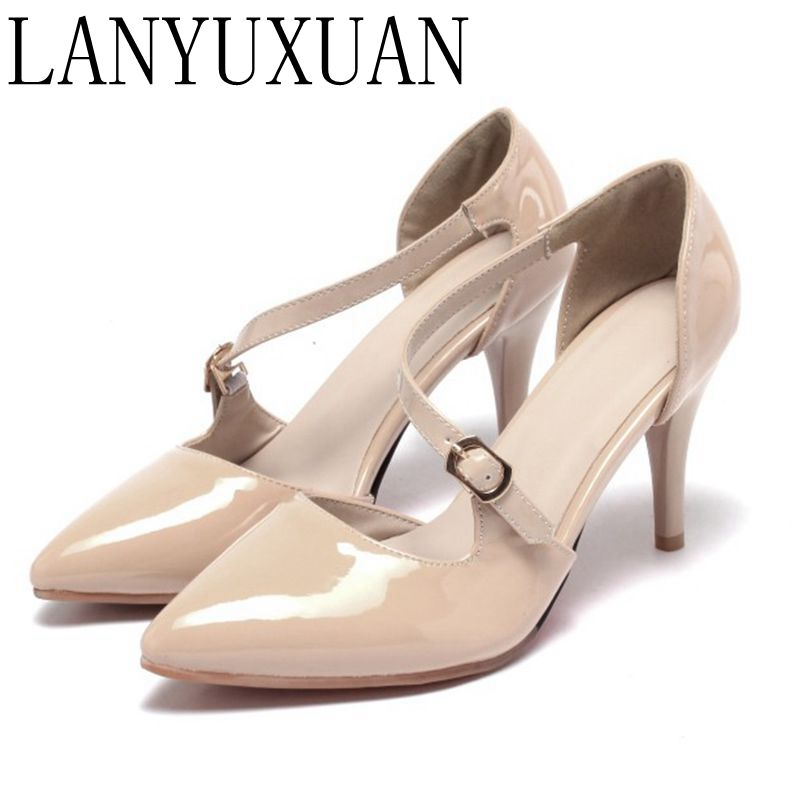 LANYUXUAN Dames Schoenen Plus small Big Size 31-47 Ladies Shoes Woman Women High Heels Pumps Sapato Tacon Valentine 1398 guvoosm ladies med heels pumps women black casual sapato feminino rubber slip on shoes woman round toe big small size 31 43
