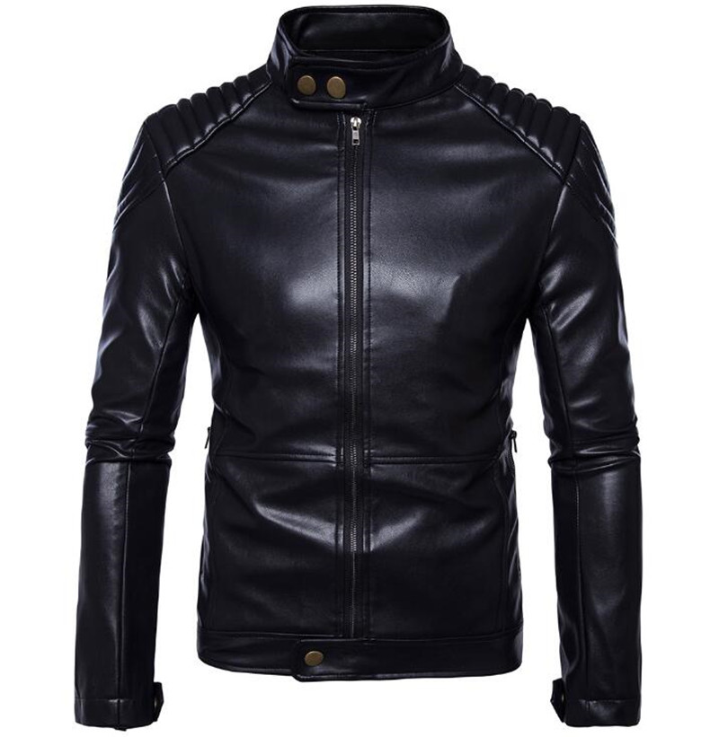 New Retro Vintage Motorcycle Jacket PU Leather Stand Collar Classic Punk Biker Moto Jacket Slim Biking Riding Jacket Coat
