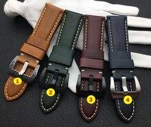 22 Mm 24 Mm 26 Mm Groen Wijn Rood Blauw Bruin Vintage Kalf Olie Koe Lederen Horlogeband Voor Panerai Strap voor PAM441 Horloge Band Gesp