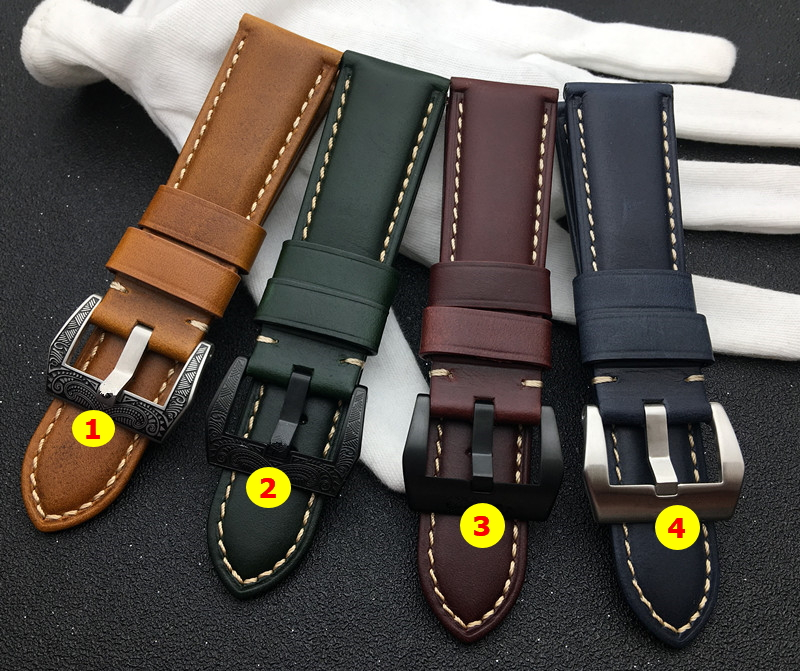 22mm 24mm 26mm Green wine red blue Brown Vintage Calf oil cow Leather Watchband For Panerai strap for PAM441 Watch band buckle(China)