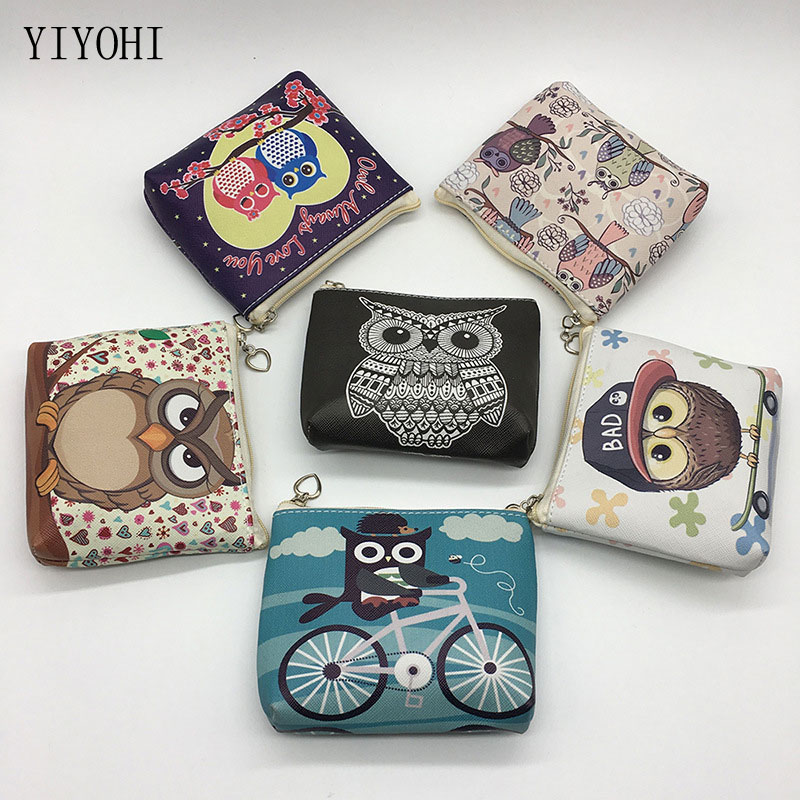 Cute Girl Animal Coin Purses Holder Kawaii Owl Pattern Women Mini Change Wallets Money Bag Children Zipper Pouch Zero Bag Gift fashion women mermaid paillette coin purses holder girl children mini change wallets money bag coin bag children zipper pouch