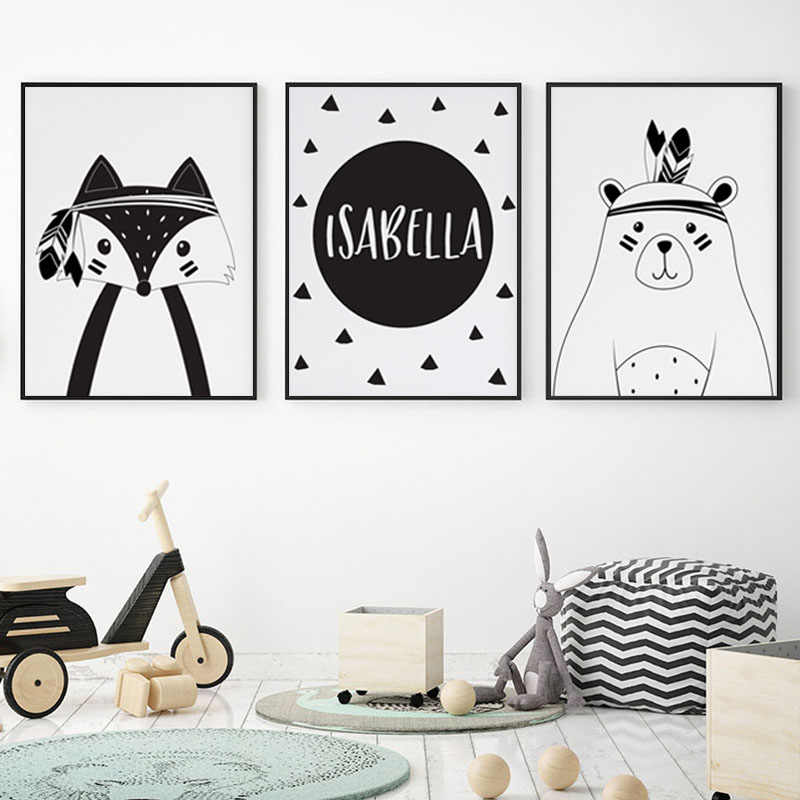 Tribal Prints Nursery Wall Art Canvas Painting Custom Personal Name Nordic Poster Cartoon Fox Bear Wall Pictures Kids Room Decor