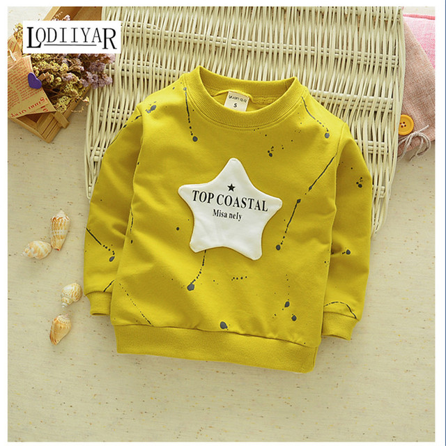 Cotton Korean Outerwear Long Sleeve T-shirt Star Letter Top Boys Girls Clothes, Autumn Spring Outerwear Bottoming Kids Clothes