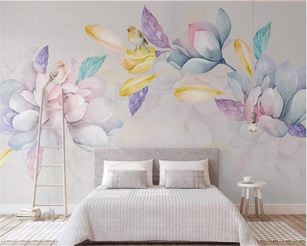Купить с кэшбэком beibehang 3d wallpaper Fresh and elegant watercolor hudas beauty  hand painted magnolia TV background wall papel de parede