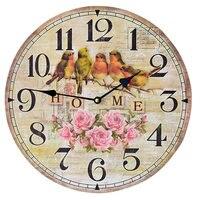 HOME 5Birds Wood Digital Large Wall Clock Mural Circular Digital Clocks Gifts Crafts Home Decor 35CM