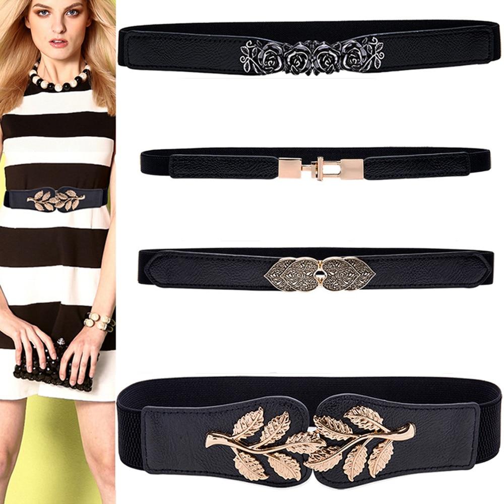 Women Fashion Thin Flower Waistbands For Dress Gold Alloy Buckle Cummerbunds HOT Elastic Waist Belts Stretch Corset Dropshipping