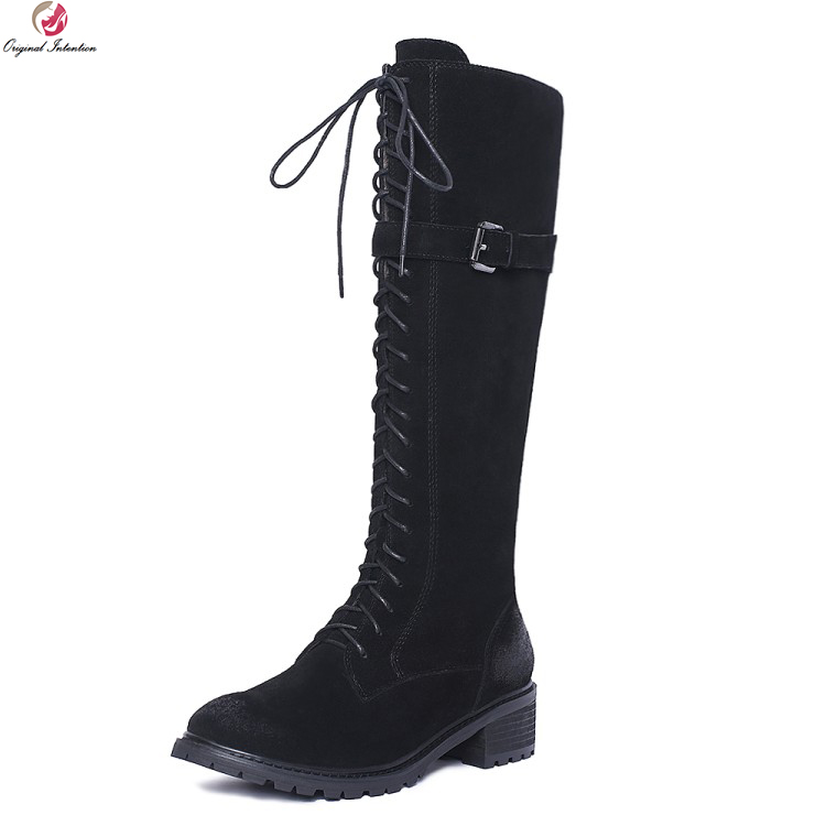 Original Intention Stylish Women Knee High Boots Cow Suede Round Toe Square Heels Boots Fashion Black Shoes Woman US Size 4-10.5 ancient greek lace up leather suede knee high women boots round toe thick high heels fashion woman motorcycle boots shoes women