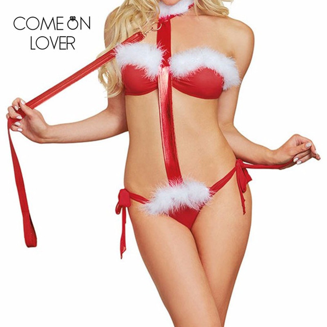 RE80356 Special design Christmas wear teddy lingerie hot teddy +bra feather decorated red bandage teddy new sexy open cup teddy