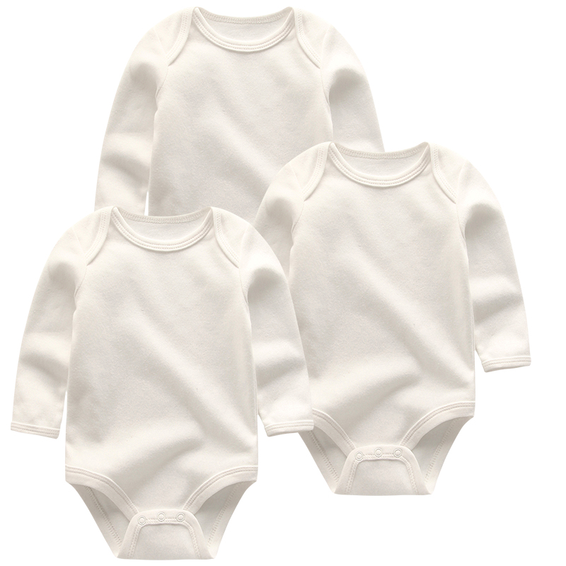 Solid color Baby Rompers Cute 3pcs/lots Newborn Baby Girls boys Clothes Long Sleeve Cotton Baby Jumpsuit Clothing | Happy Baby Mama