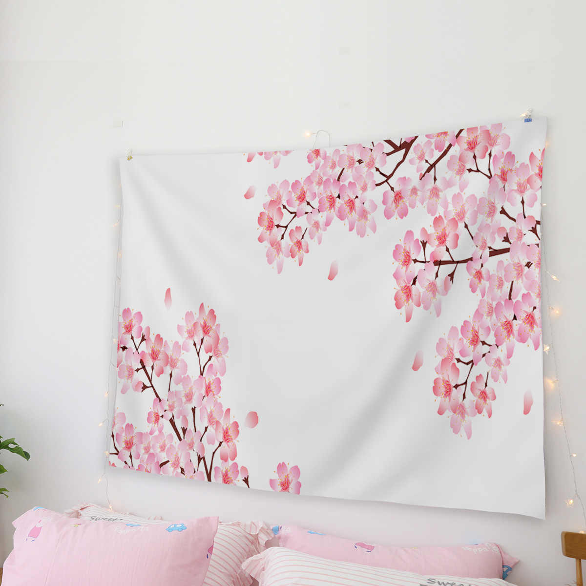 Goohome Abstract Cherry Blossoms Tapestries Bedspread Tapestry Wall Art Bedding Curtain Sheet Towel Scarf Throw Wrinkle-Resistan